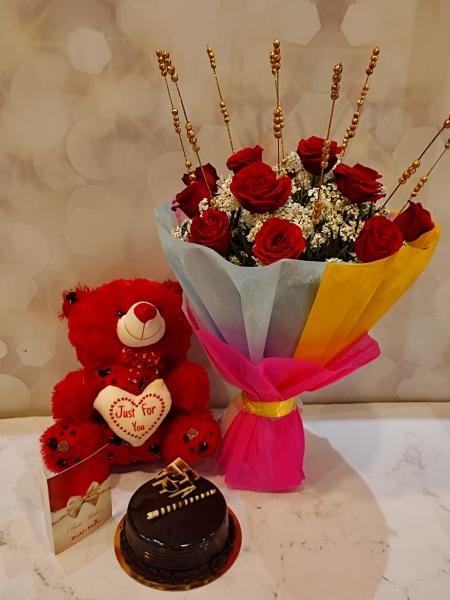 CHOCOLATE TRUFFLE CAKE, BOUQUET AND TEDDY