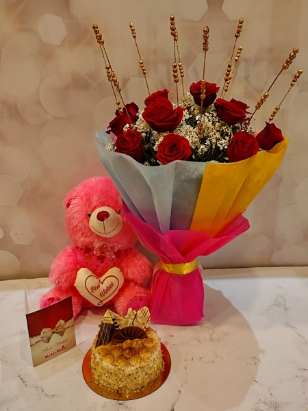 BLACK FOREST CAKE, BOUQUET AND TEDDY
