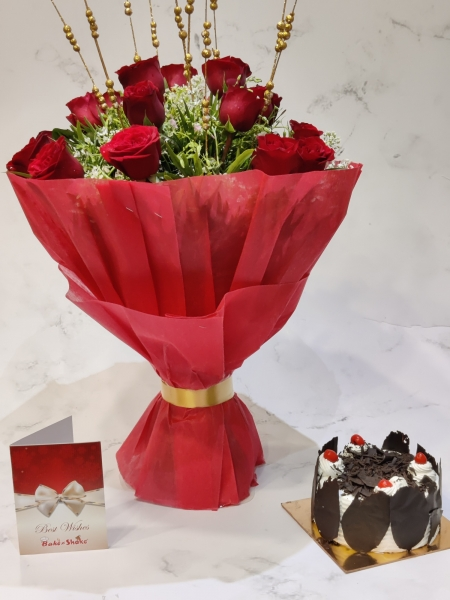 BLACK FOREST CAKE AND BOUQUET