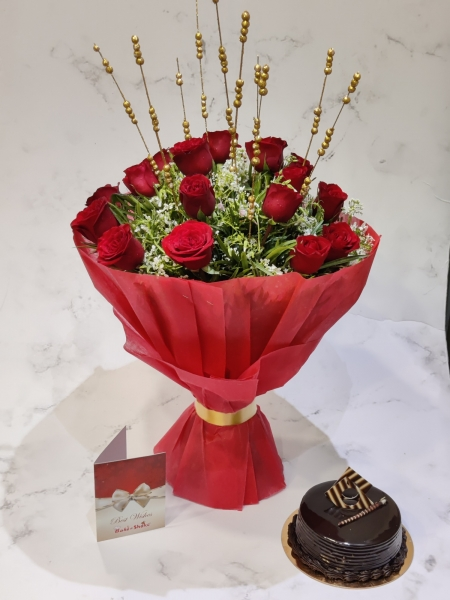 CHOCOLATE TRUFFLE CAKE AND BOUQUET