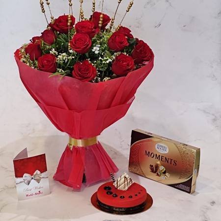 RED VELVET CAKE , BOUQUET AND CHOCOLATES